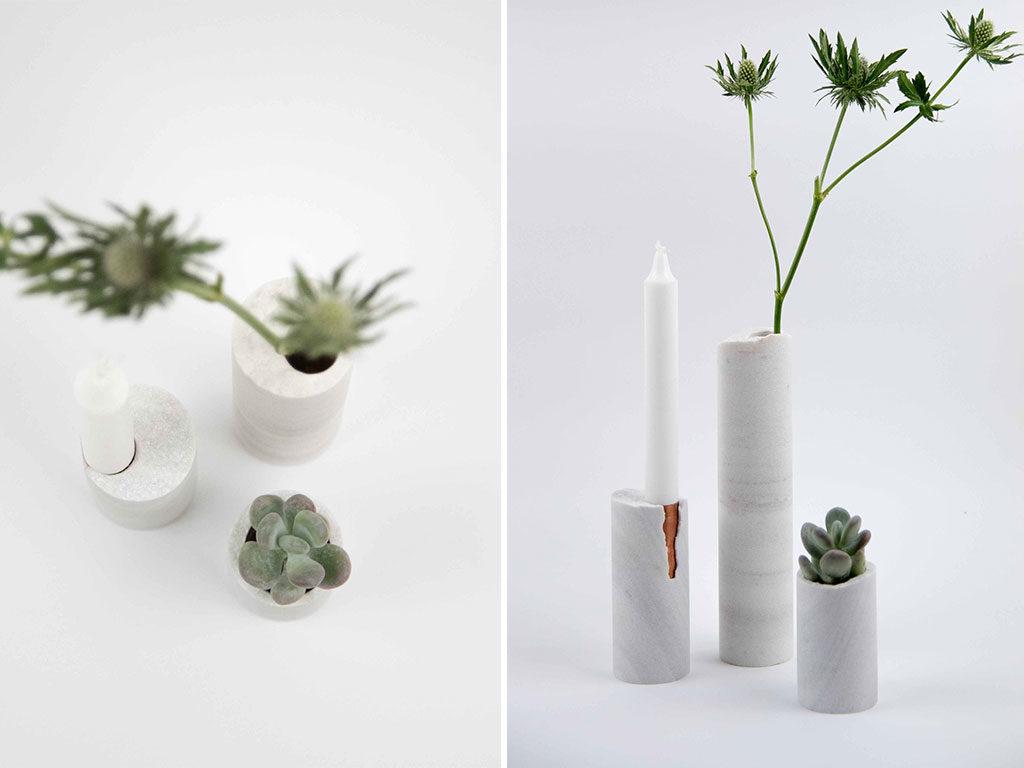 vasi candeliere pietra bianco a mano