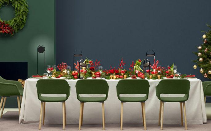 tavola natale sedie verdi