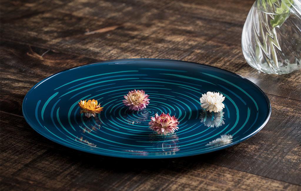 piatto ceramica blu vertigine