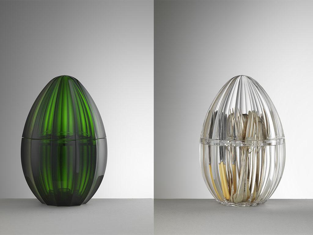 portaposate uovo verde e trasparente