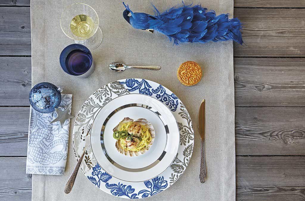 runner grigio piatto blu grigio