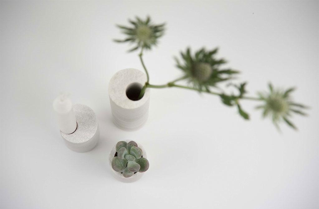 vasetto e portacandela pietra