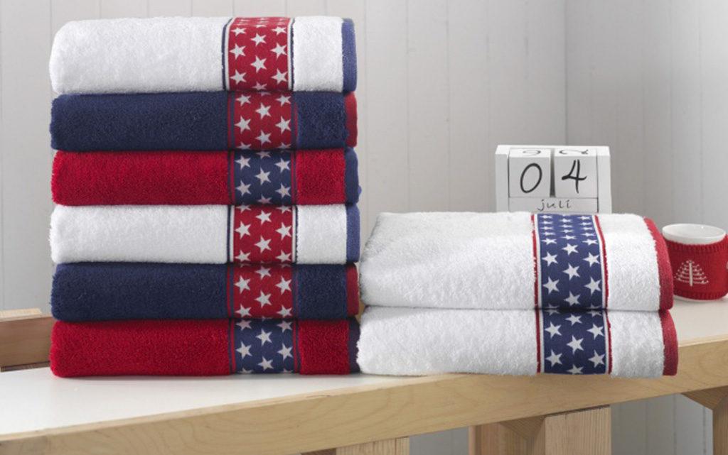 asciugamani rosso blu bianco stelle