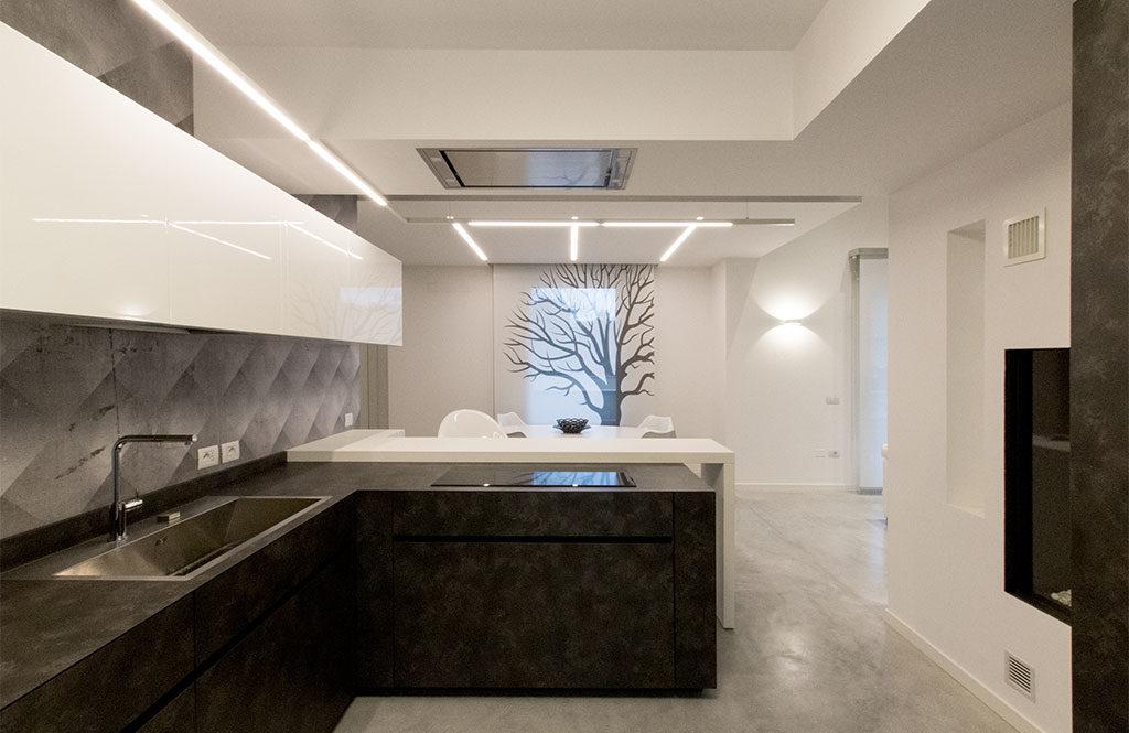 vista cucina bianco e nero