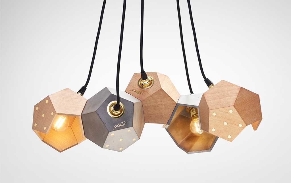lampada sospesa legno geometria