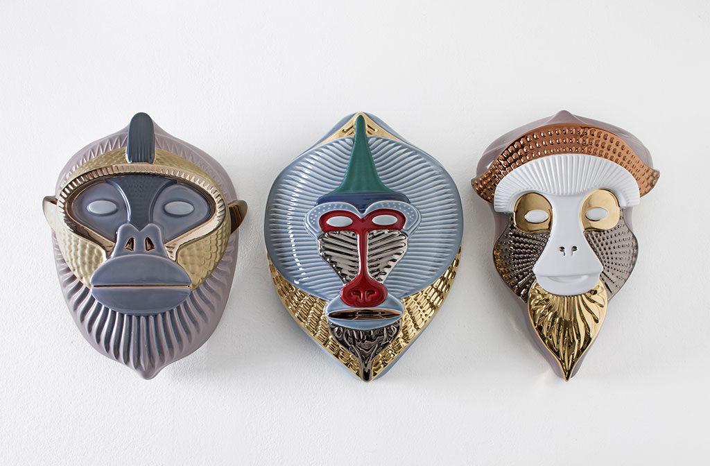 maschere scimmie ceramica