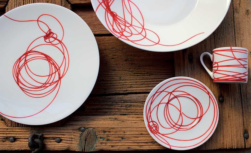 piatti ceramica filo rosso
