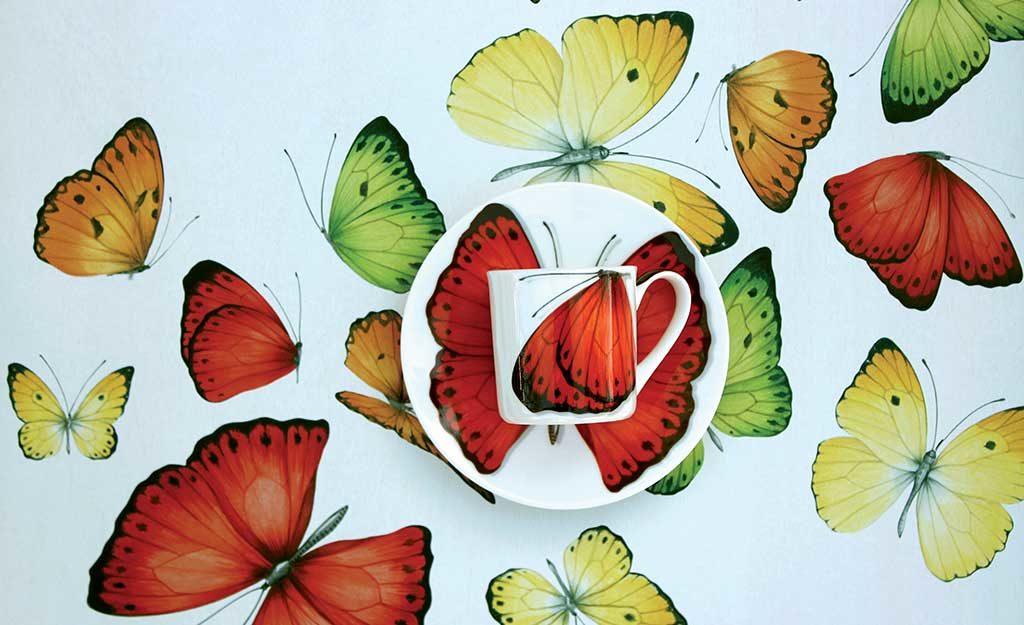 piatto tazza decori farfalle