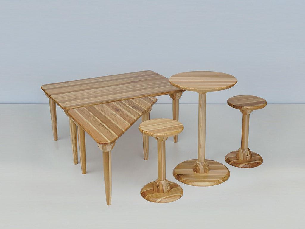 sgabelli tavolinetti legno