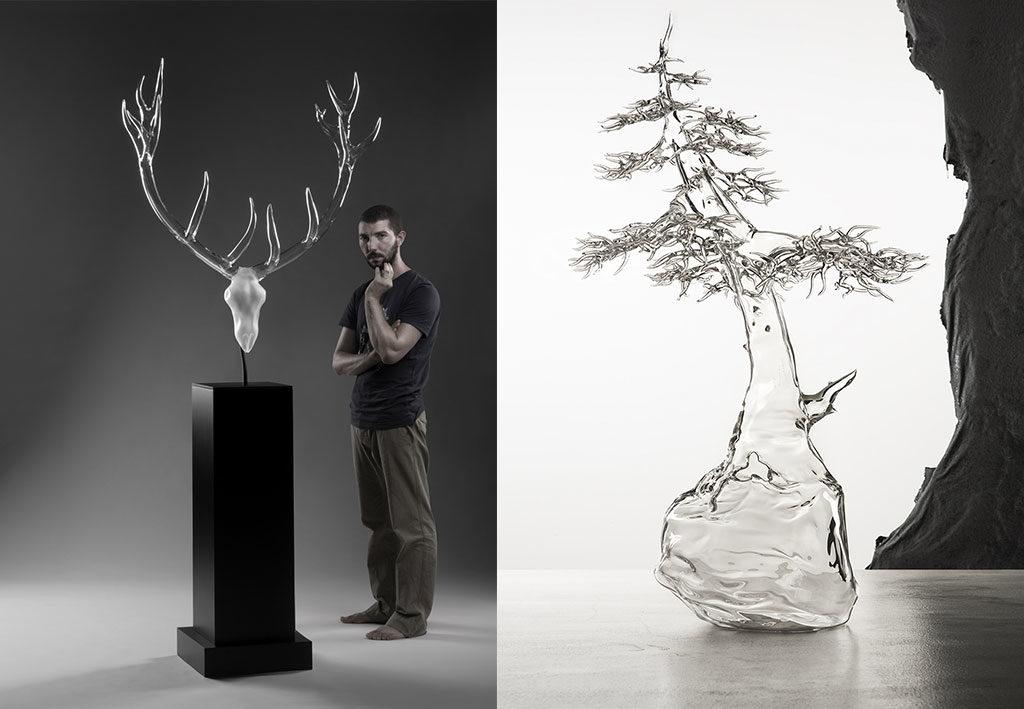 bonsai vetro e scultura cervo