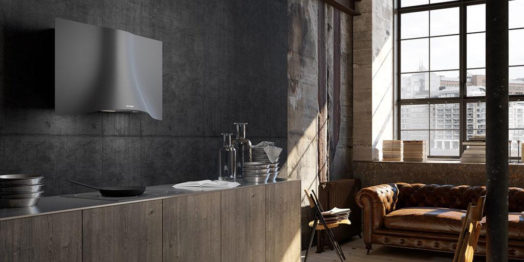 cucina cappa a parete acciaio