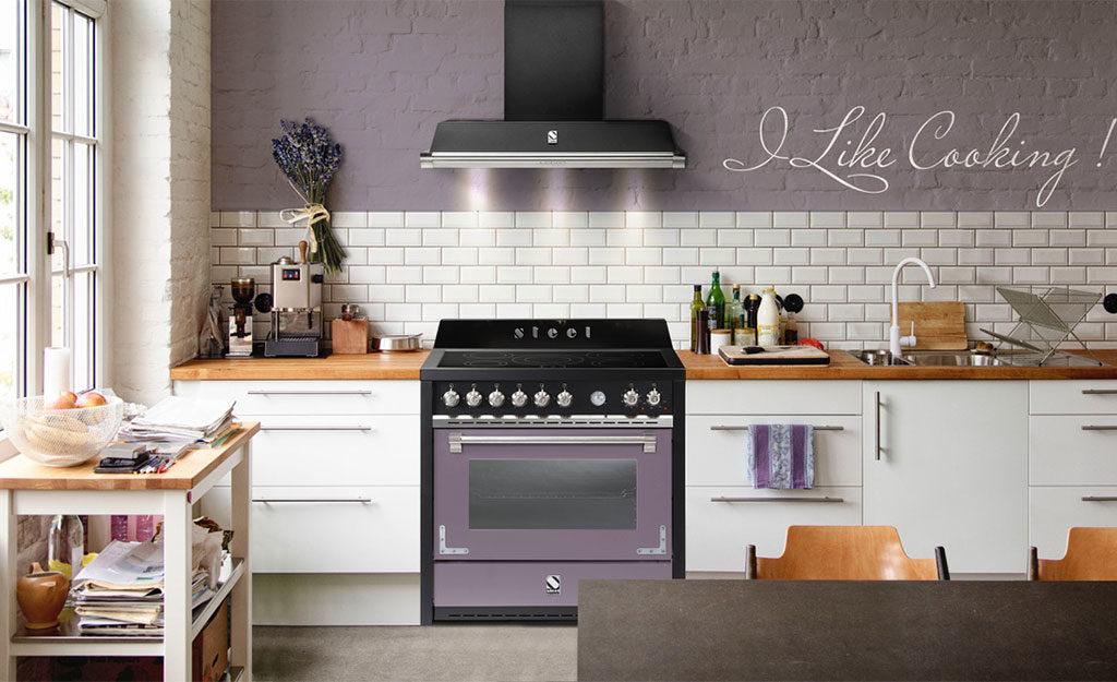 cucina freestanding acciaio nero