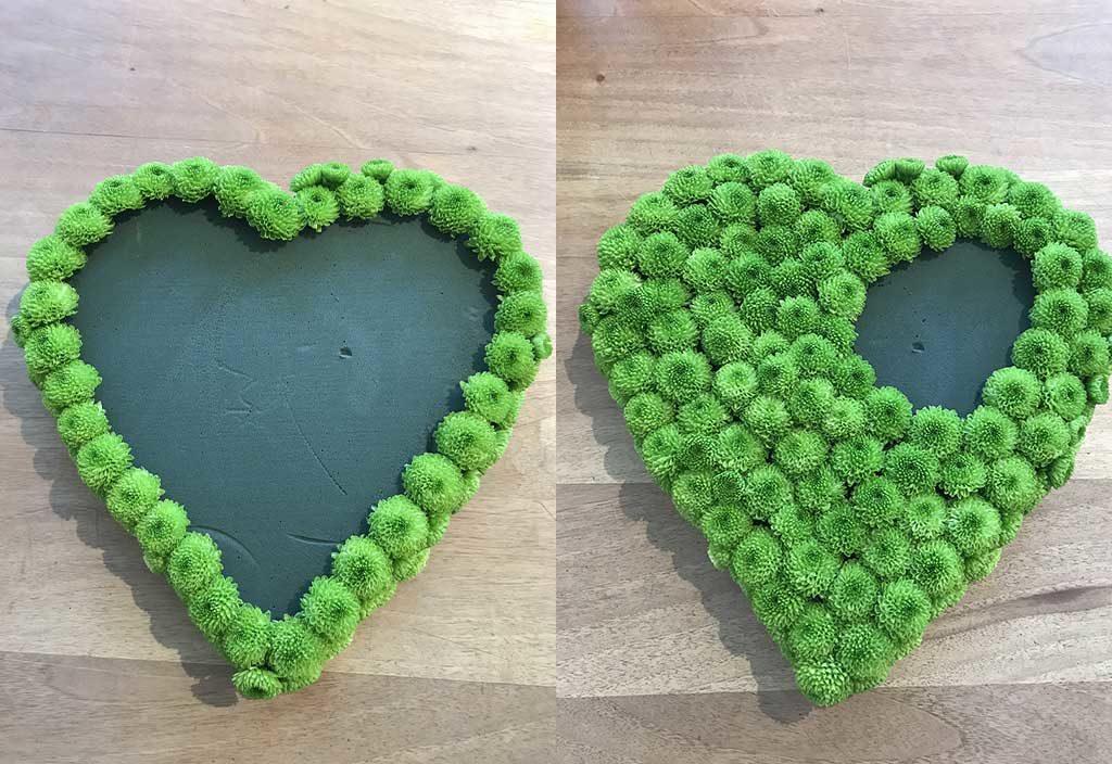 cuore spugna rivestito verde