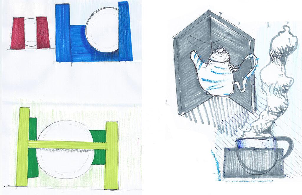 disegni mano teiera piatti