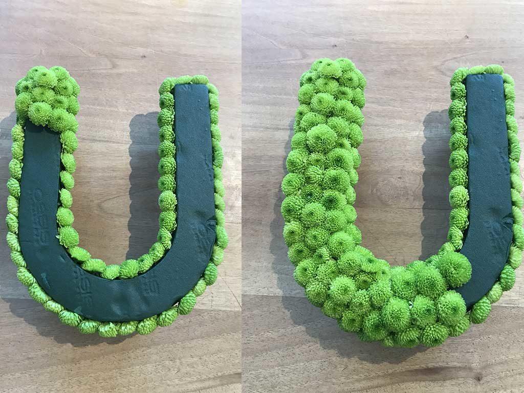 lettera u rivestita verde piante