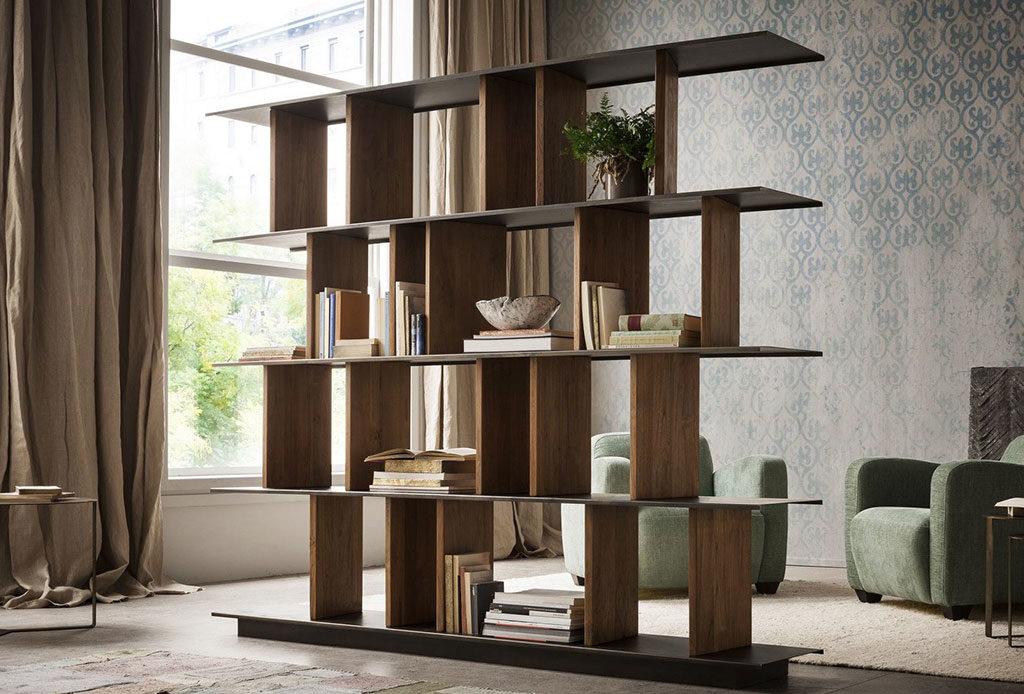 libreria bifacciale in legno