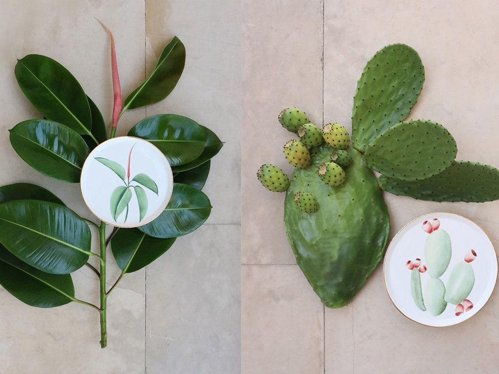 piatti decorati mano piante