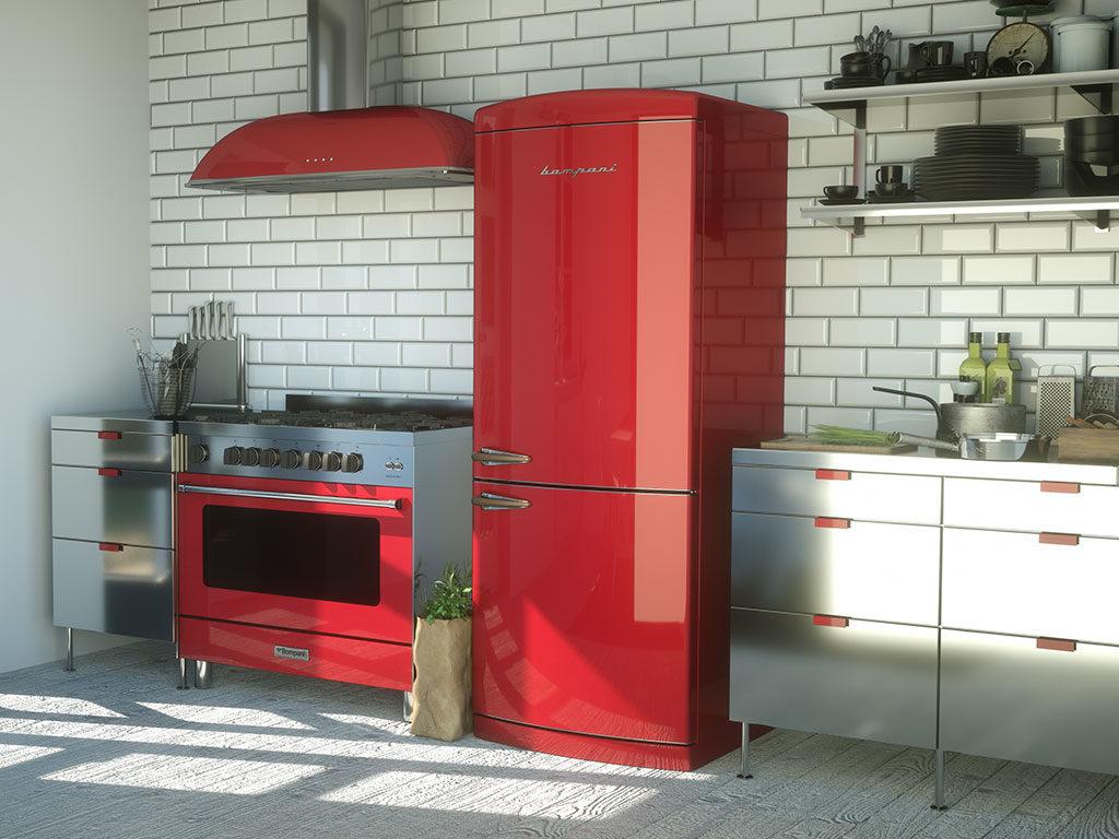 cappa frigo rosso cucina rossa
