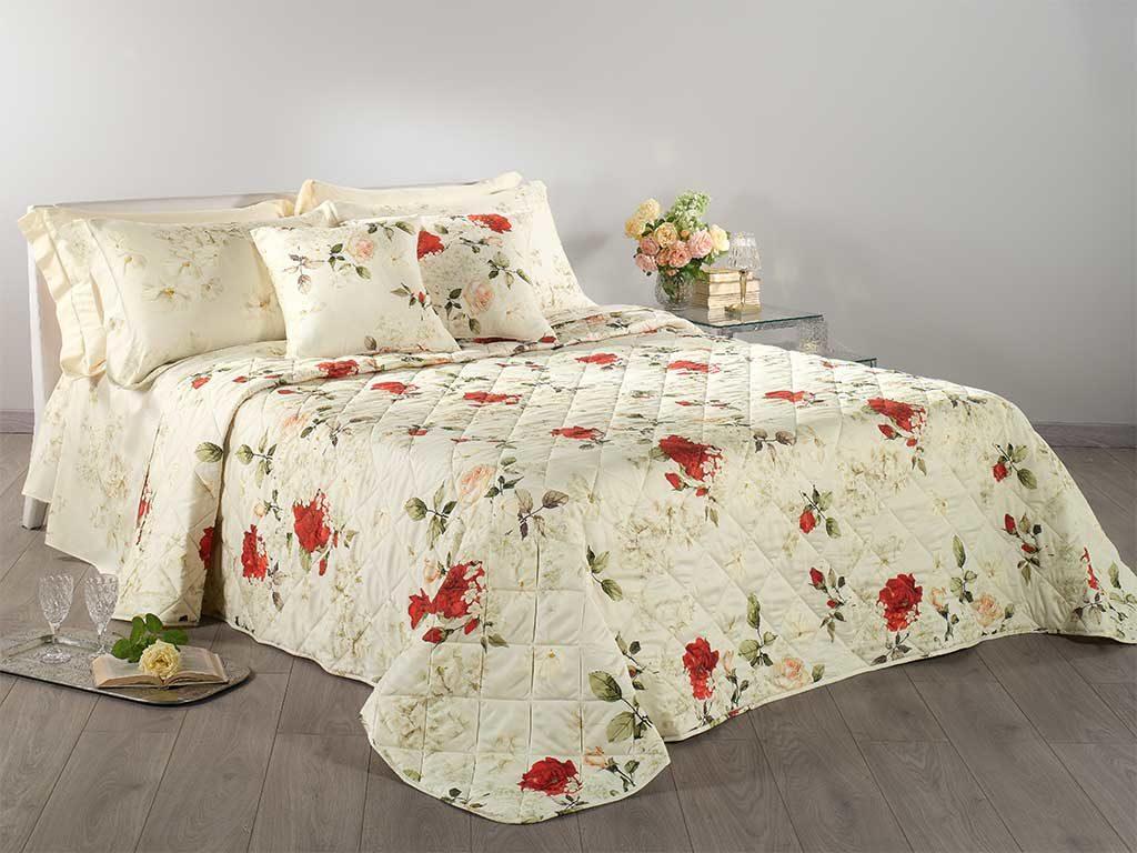 copriletto floreale rosso bianco