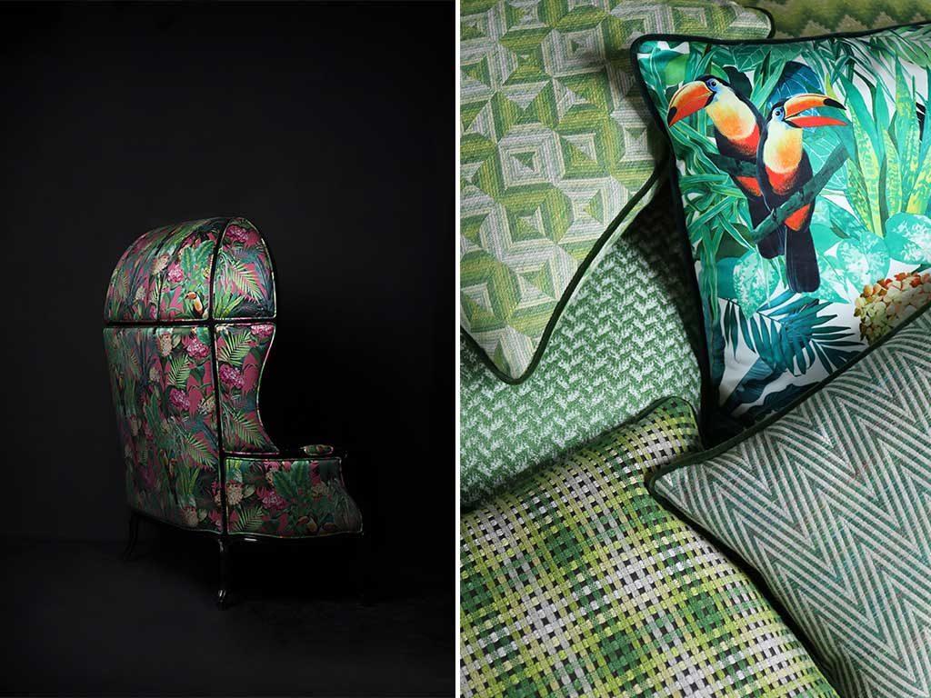 cuscini verdi disegno e poltrona colorata