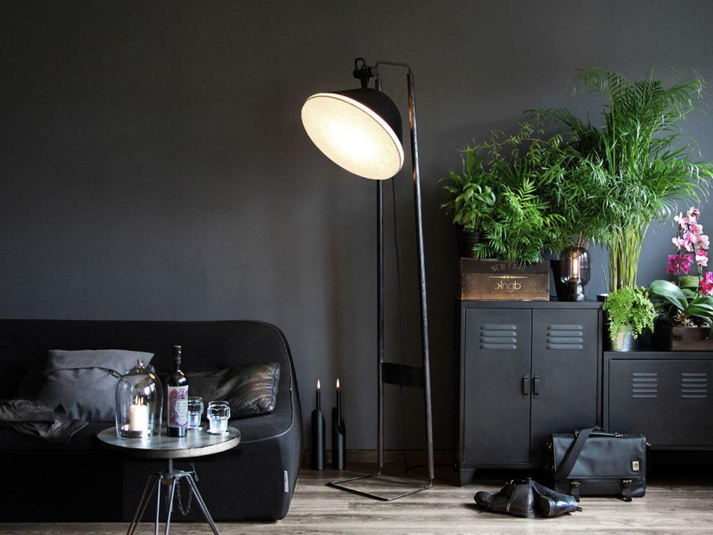 salotto nero lampada terra