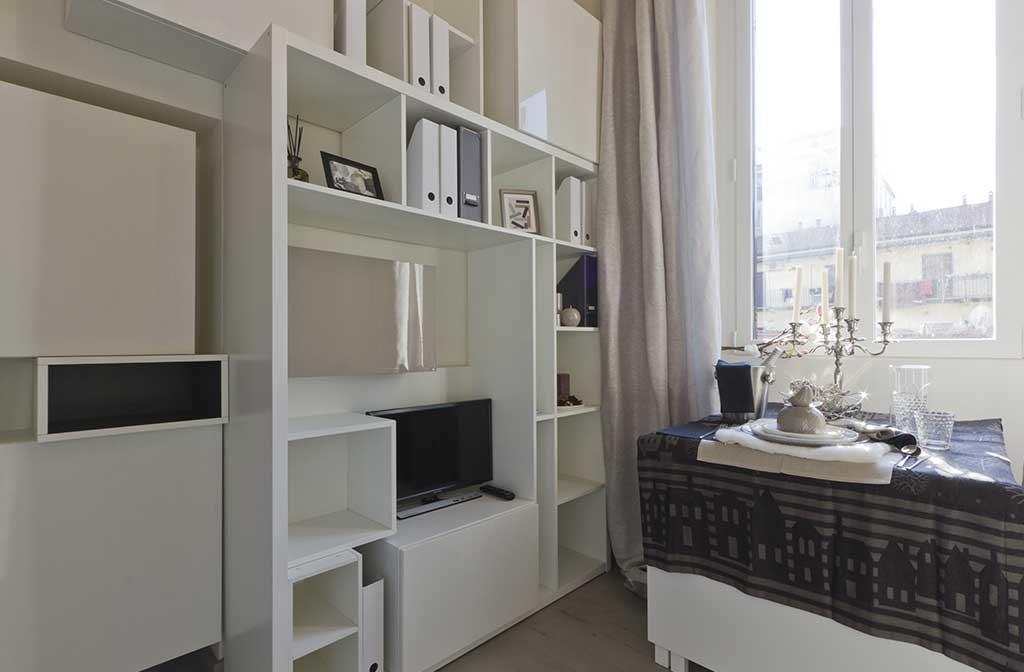living libreria bianca tavolo pieghevole