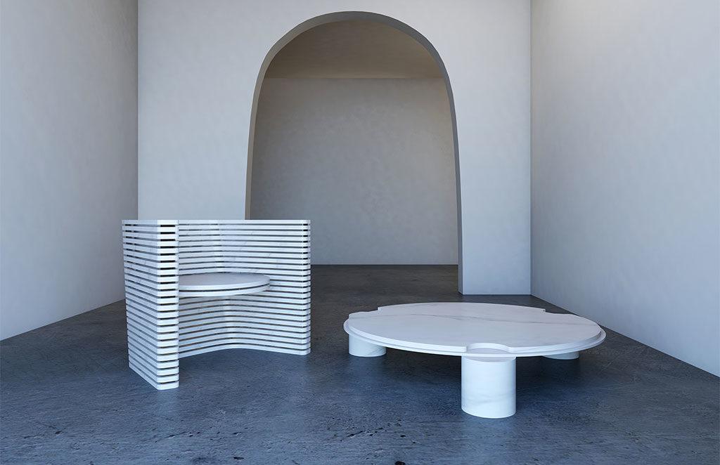 poltroncina e tavolinetto tondo basso