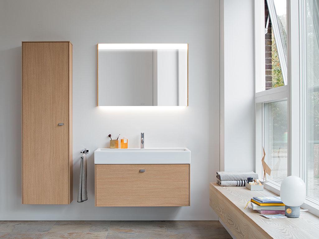 bagno legno armadietto lavabo sospeso