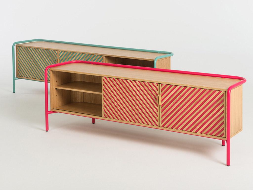 console legno e metallo colorato