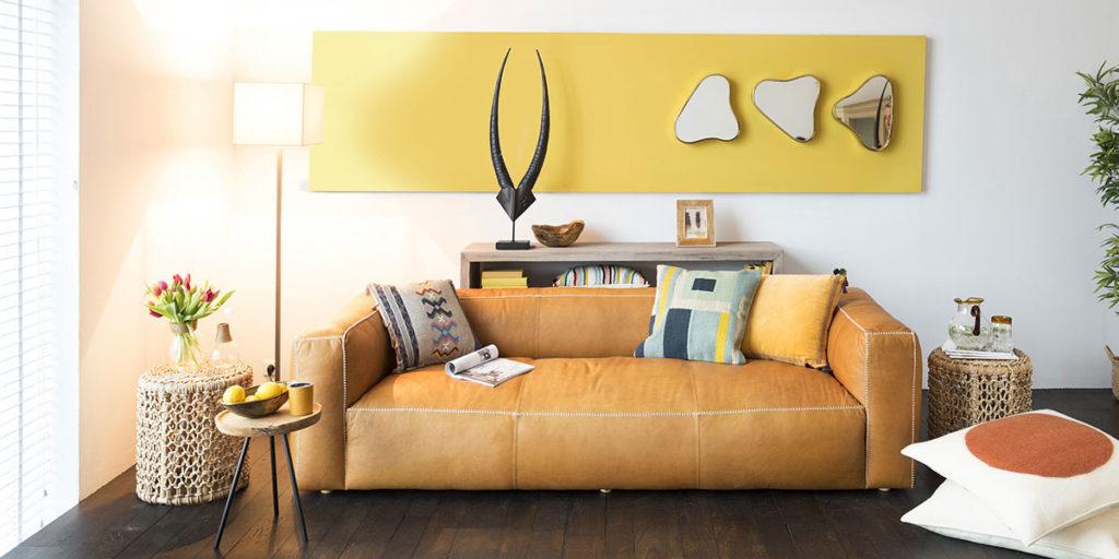 divano tessuto giallo senape