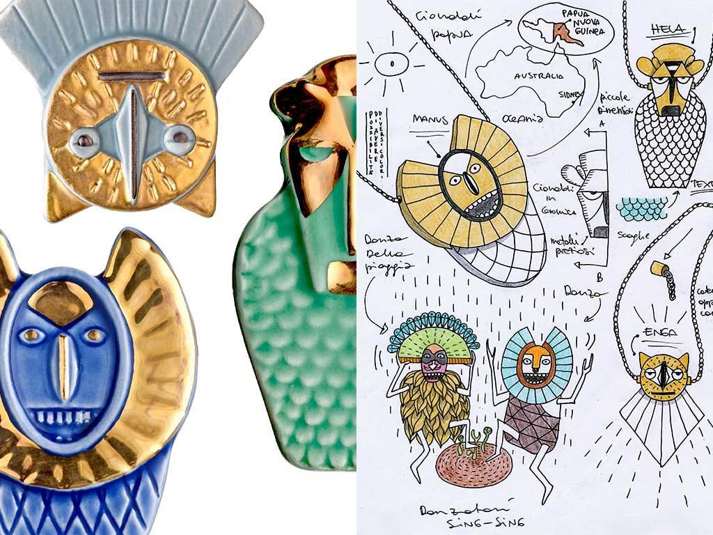 gioielli ceramica e disegni