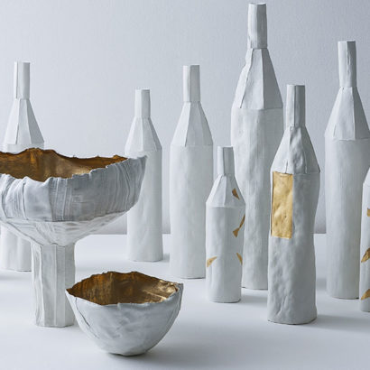 bottiglie e vasi ceramica bianco oro