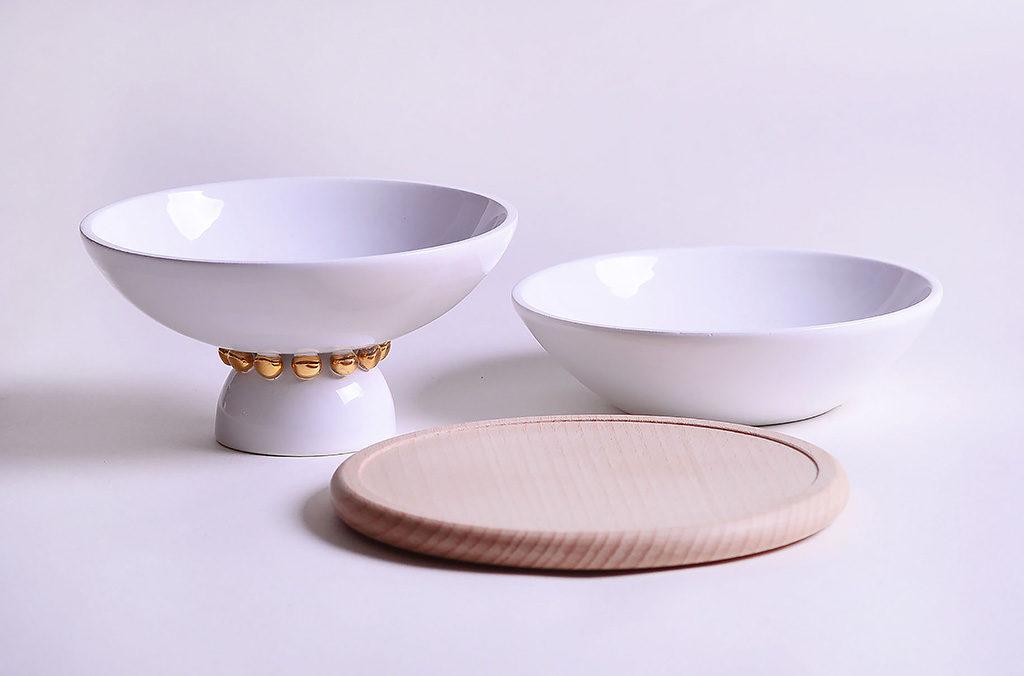 set ceramica tavola bianco