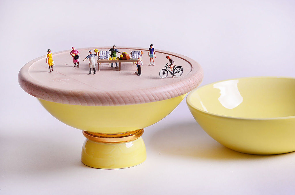 ceramica tableware giallo miniature