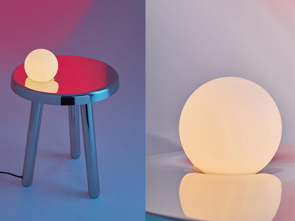lampada tavolo su sgabello
