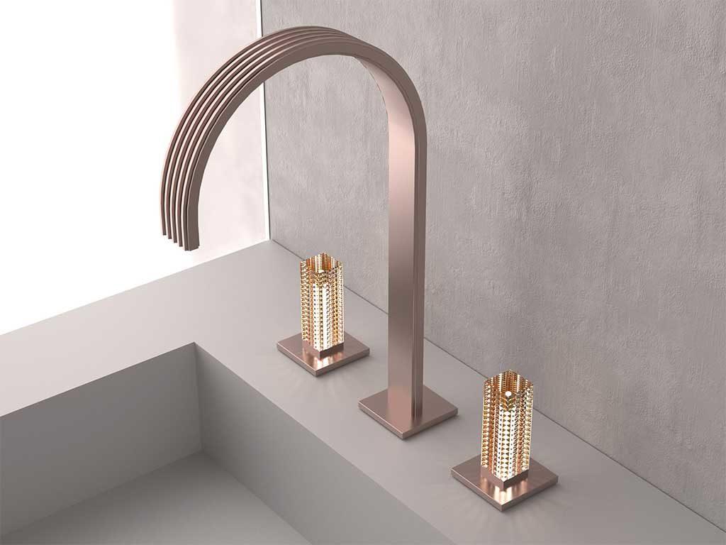 rubinetto lavabo manopole cristallo