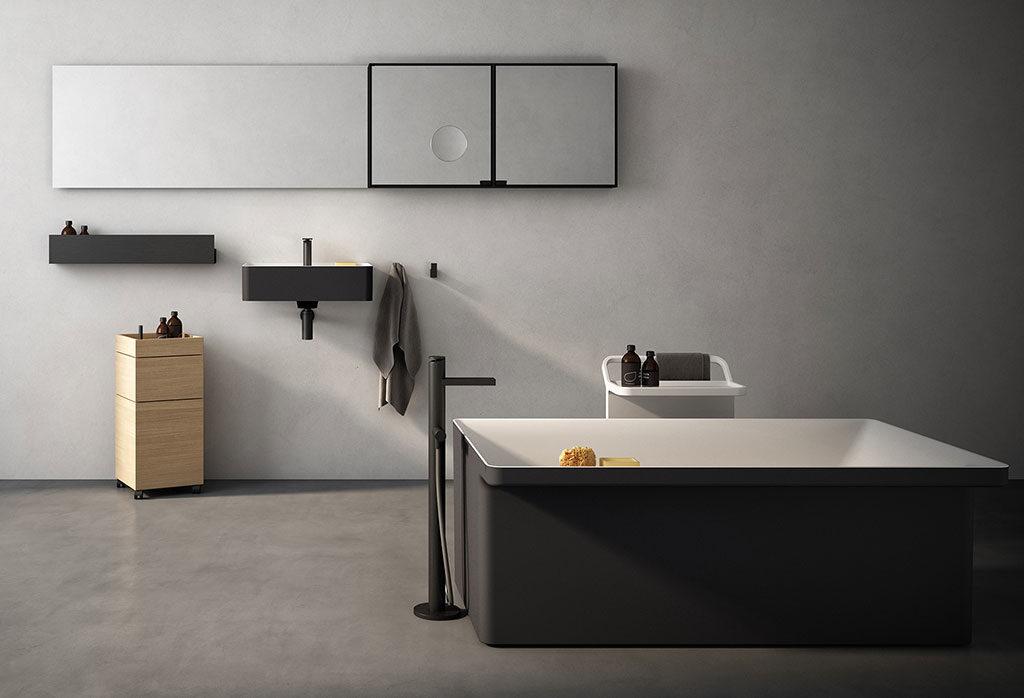 lavabo e vasca colore grigio