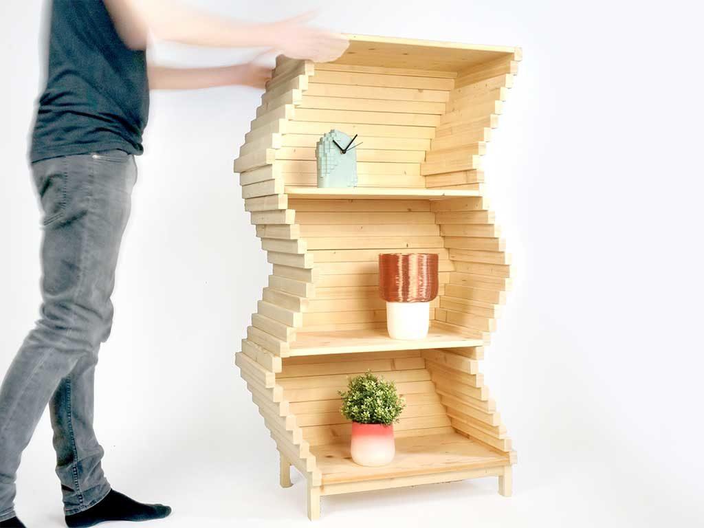 libreria scaffale legno onda