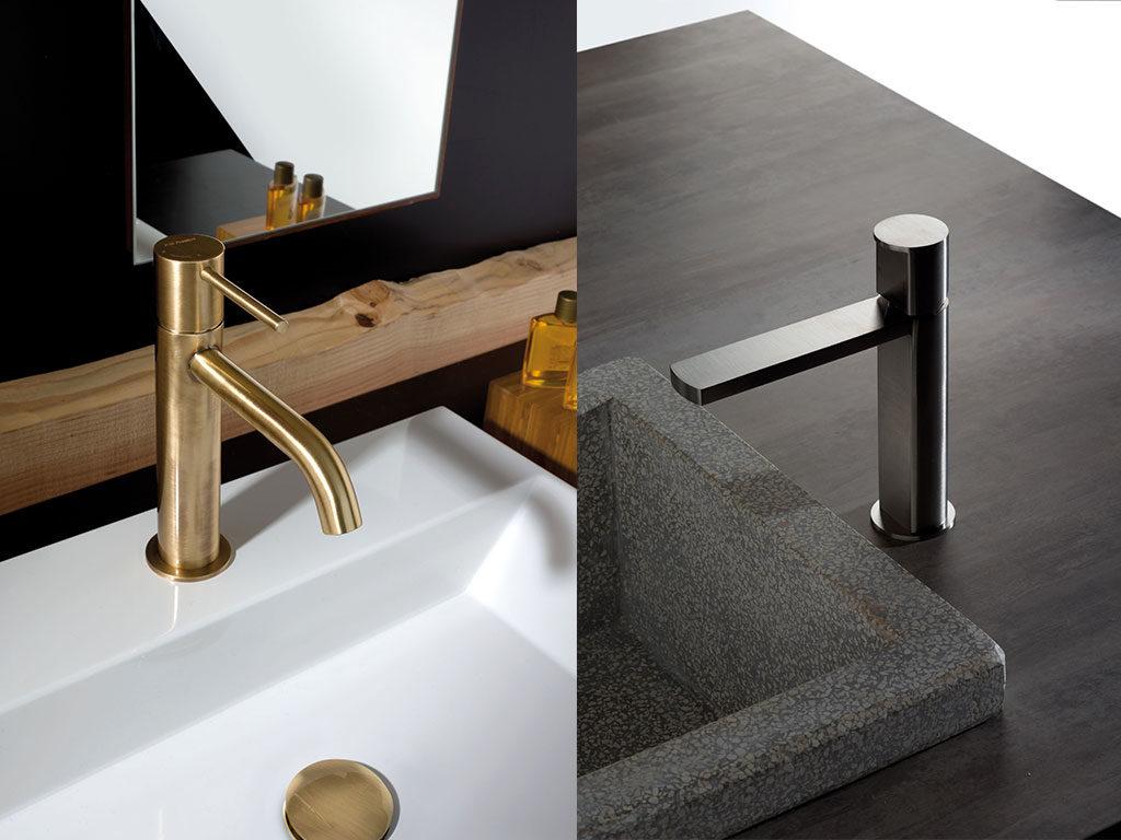 rubinetti lavabo acciaio e bronzo