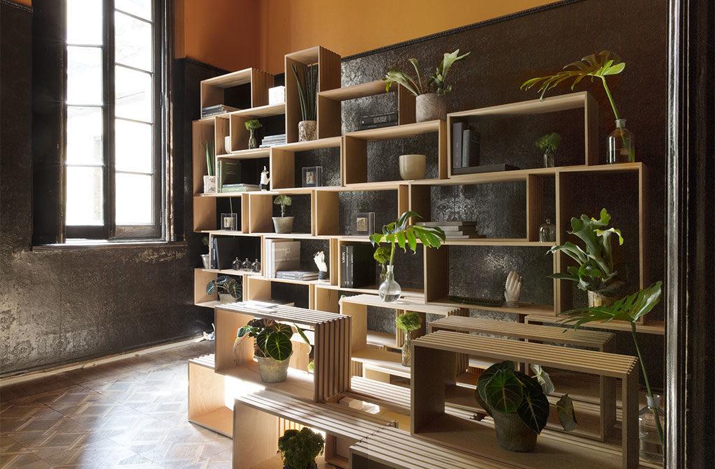 scaffalatura legno parete