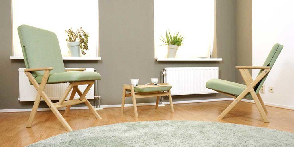 sedia pouf tavolinetto tessuto verde