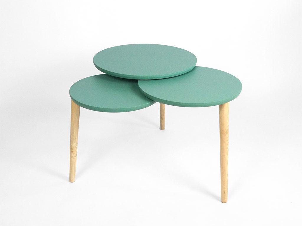 tavolinetto basso verde tondi