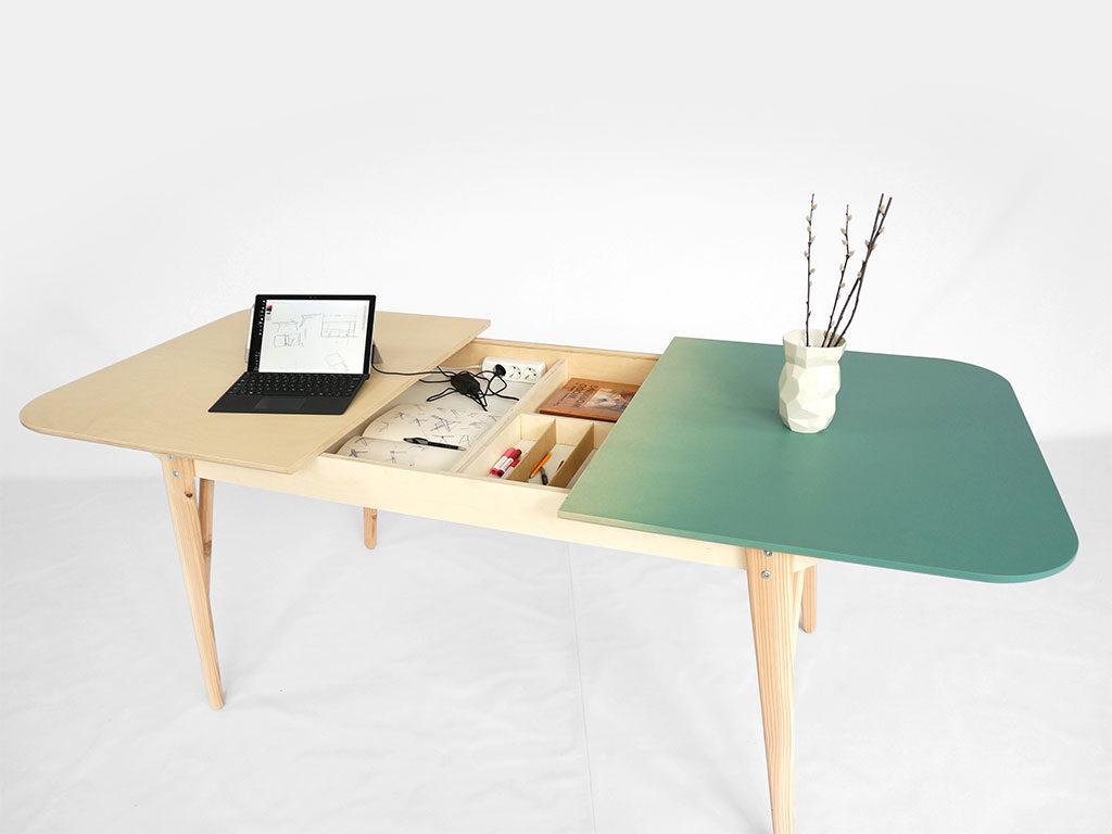 tavolo legno piano aperto contenitore