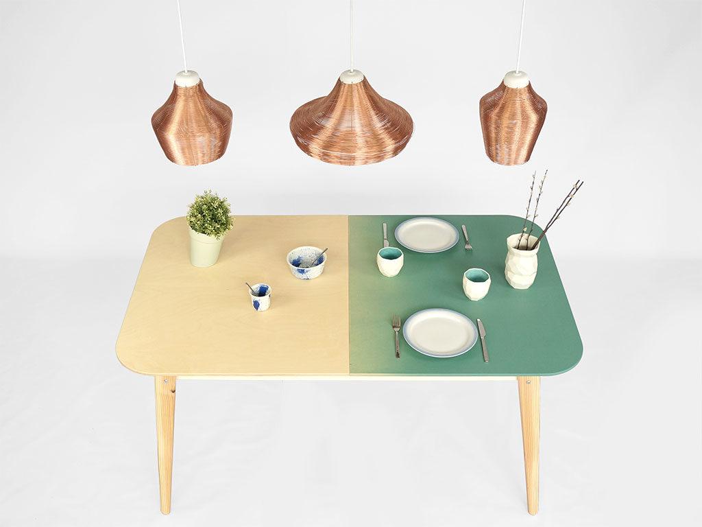 tavolo legno piano bicolore