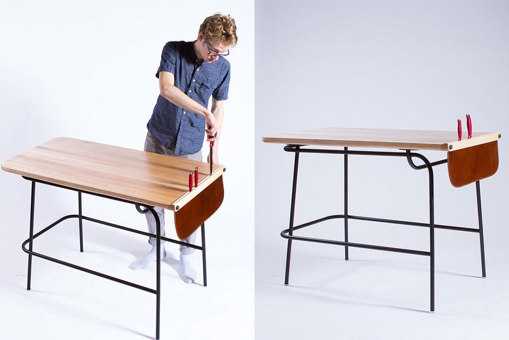 tavolo legno telaio metallo