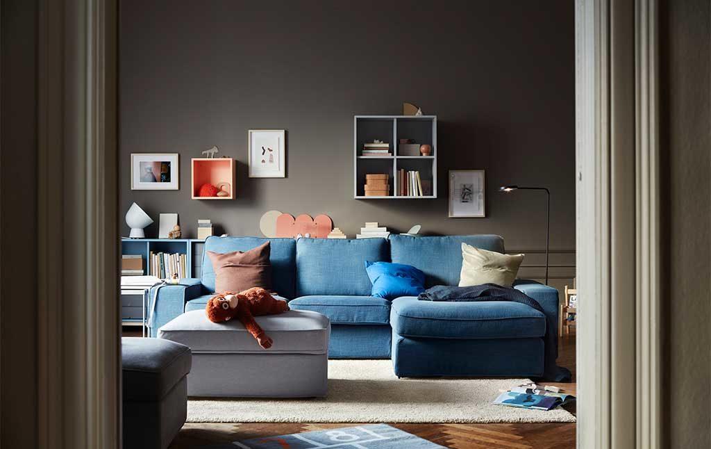 divano azzurro tre posti ikea