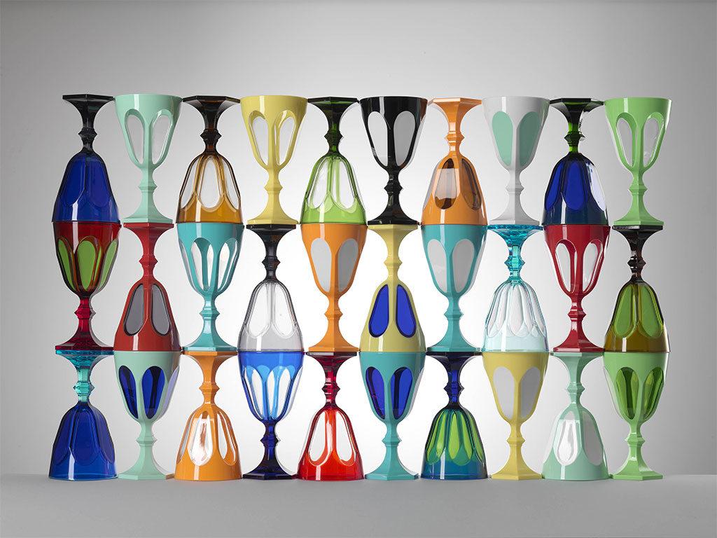 bicchieri colorati cristallo sintetico