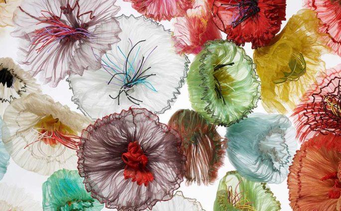 tessuti fiori plissè