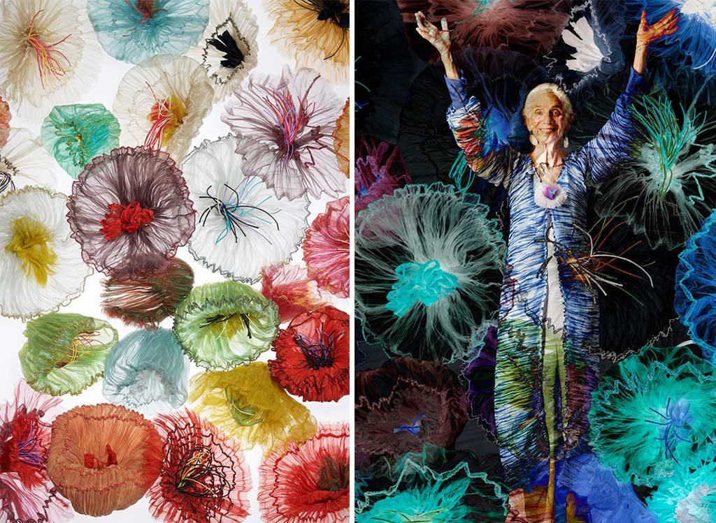 fiori tessuto abito colorato donna