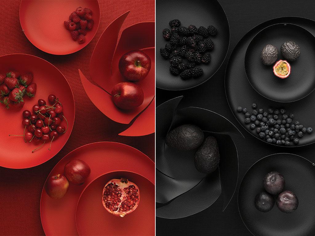 fruttiere cestino rosso nero